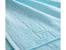 Полотенце махровое с бордюром Светло-голубое