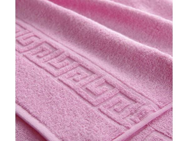 Полотенце махровое с бордюром Светло-розовое