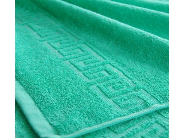 Полотенце махровое с бордюром Зеленое